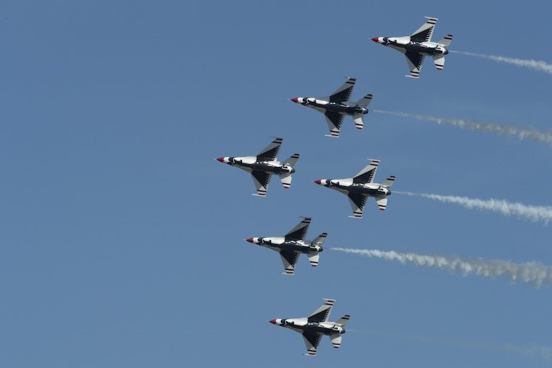 The U.S. Air Force Thunderbirds Flight Demonstration Team soars above Moody Air Force Base during the Thunder Over South Georgia Air Show, Oct. 29, 2017. The Thunderbirds, based out of Nellis Air Force Base, Nev., are the Air Force's premier aerial demonstration team, performing at air shows and special events worldwide. (U.S. Air Force photo by Senior Airman Janiqua P. Robinson)
