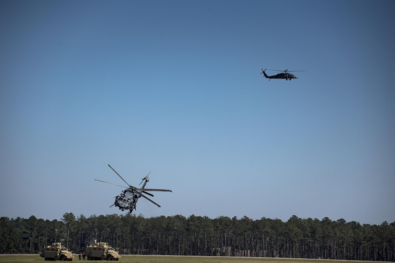 An HH-60G Pave Hawk takes off during a Combat Search and Rescue demonstration during the Thunder Over South Georgia Air Show, Oct. 29, 2017, at Moody Air Force Base, Ga. The open house is an opportunity for Moody to thank the local community for all its support, and exhibit air power and it included aerial performances, food, face painting and much more. (U.S. Air Force photo by Staff Sgt. Ryan Callaghan)
