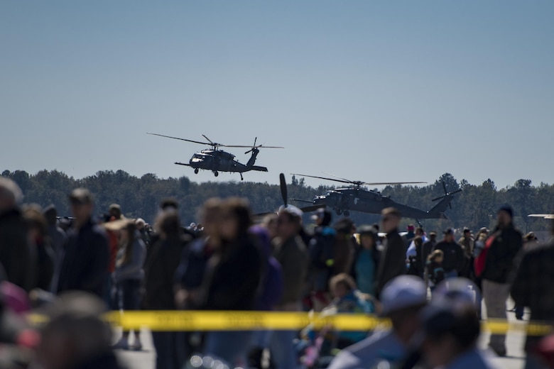 Spectators watch in awe as an HH-60G Pavehawk land during the Thunder Over South Georgia Air Show, Oct. 29, 2017, at Moody Air Force Base, Ga. The open house is an opportunity for Moody to thank the local community for all its support, and exhibit air power. (U.S. Air Force photo by Staff Sgt, Eric Summers Jr.)