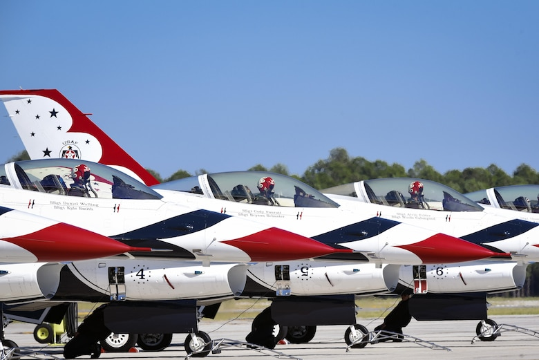 Members of the U.S. Air Force Thunderbirds Flight Demonstration Team prepare to launch for the 2017 Thunder Over South Georgia Air Show, Oct. 29, at Moody Air Force Base, Ga. The mission of the Thunderbirds is to plan and present precision aerial maneuvers to exhibit the capabilities of modern high performance aircraft and the high degree of professional skill required to operate such aircraft. (U.S. Air Force photo by Senior Airman Greg Nash)