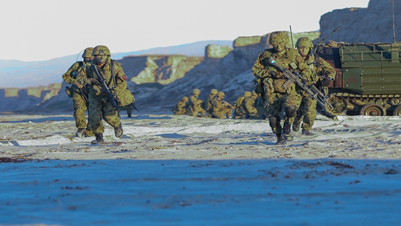 Japanese soldiers with the Japanese Ground Self Defense Force conduct an amphibious assault drill during Dawn Blitz 2017 aboard Camp Pendleton, Calif. Oct 27, 2017.