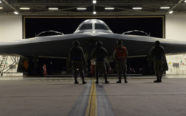 U.S. Air Force maintainers assigned to Whiteman Air Force Base inspect a B-2 Spirit before it takes off Oct. 28, 2017.  The B-2 conducted a conducted a long-range mission to the U.S. Pacific Command area of responsibility this weekend. Long-range missions familiarize aircrew with air bases and operations in different geographic combatant commands, enabling them to maintain a high state of readiness and proficiency.
