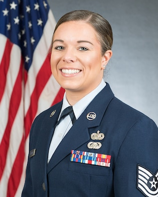 TSgt Jenna Calderone poses for an official portrait.