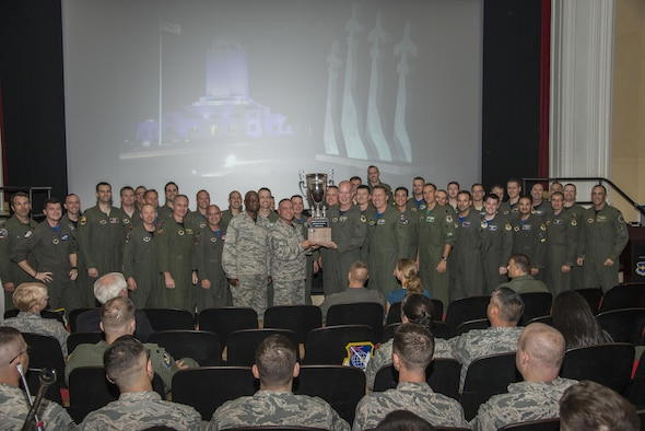 "Members of the 12th Flying Training Wing pose with senior leadership after winning the ""Wing of Wings"" award during the inaugural flying training awards ceremony Oct. 20, 2017 at Joint Base San Antonio-Randolph, Texas. The awards paid tribute to the individuals and teams who continue to produce highly qualified aircrew for the United States Air Force. (U.S. Air Force photo by Senior Airman Stormy Archer)"
