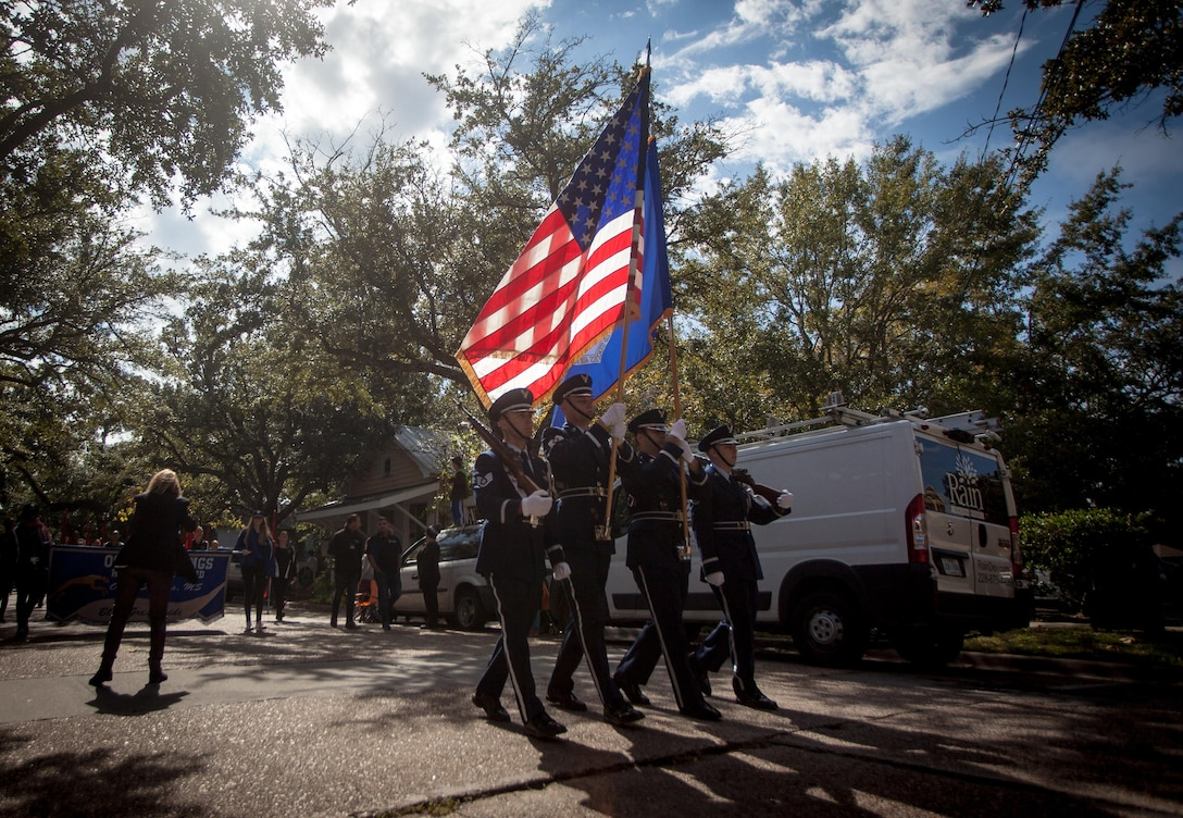 Keesler Honor Guard Marches in Veterans Parade