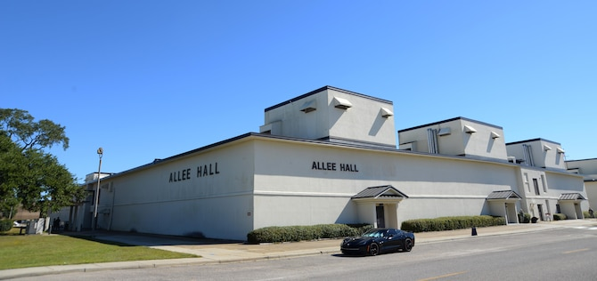 Allee Hall is located on the corner of Fisher Street and H. Street, Bldg 4331. Today, Allee Hall is used by the 335th Training Squadron where students train for the finance, education and training, and manpower career fields. It also hosts the Military Training Leader course. (U.S. Air Force photo by 2nd Lt. David Bui)