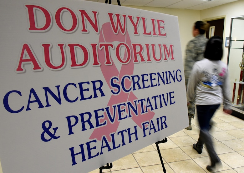 An informational poster is on display during the 6th Annual Mammothon Cancer Screening and Preventative Health Fair at the Don Wylie Auditorium Oct. 27, 2017, on Keesler Air Force Base, Mississippi. The 81st Medical Group hosted the walk-in event which included screenings for multiple types of cancer and chronic diseases in honor of Breast Cancer Awareness Month. Flu shots were also provided upon request. (U.S. Air Force photo by Kemberly Groue)