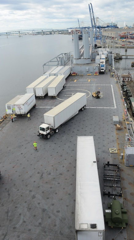 Employees of the 597th Transportation Brigade; U.S. Navy Cargo Handling Battalion 1 from Yorktown Naval Weapon Station, Virginia; the Federal Emergency Management Agency and other agencies work together to load 53-foot generator trailers and other supplies onto the weather deck of Military Sealift Command's USNS Brittin at Joint Base Charleston Naval Weapons Station, S.C., Oct. 28, 2017.