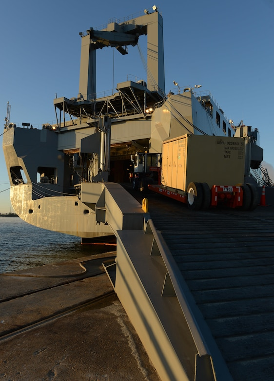 Supplies are loaded onto Military Sealift Command's USNS Brittin at Joint Base Charleston Naval Weapons Station, S.C., Oct. 30, 2017.