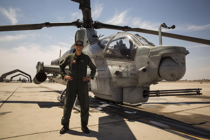 "U.S. Marine Corps Maj. Jasmin Moghbeli, a pilot assigned to Marine Test and Evaluation Squadron (VMX) 1, conducts her final flight in an AH-1 ""Cobra"" at Marine Corps Air Station Yuma, Ariz., June 7, 2017. Maj. Moghbeli will report to the Johnson Space Center in Houston, Texas, later this year to attend the NASA Astronaut Candidate Class of 2017. (U.S. Marine Corps photo taken by Lance Cpl. Christian Cachola)"