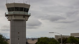 The tower, where air traffic control Marines work, overlooks the flight line at Marine Corps Air Station Miramar, Calif.