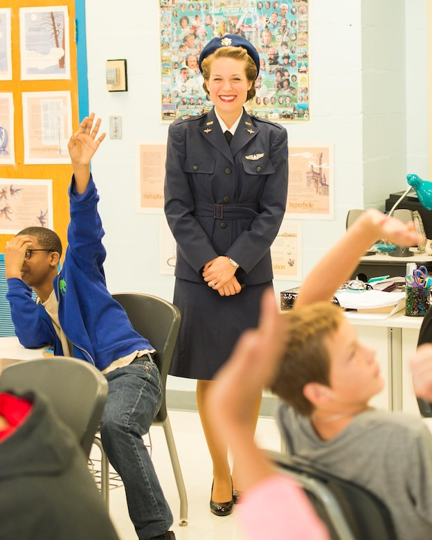 Tricia Upchurch, Air Mobility Command Museum volunteer educator, takes questions from a class of 7th graders Oct. 19, 2017, at Dover Air Force Base Middle School on Dover Air Force Base, Del.