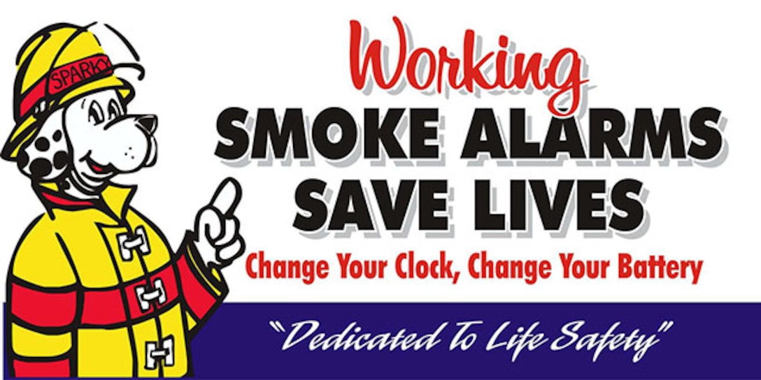 graphic of sparky the fire dog working smoke alarms save lives.