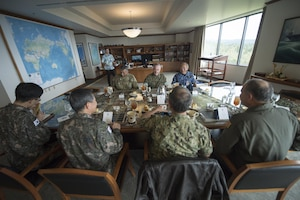 The senior most military officers of the U.S., Japan and South Korea gather for a trilateral meeting at U.S. Pacific Command's headquarters at Camp H.M. Smith, Hawaii.