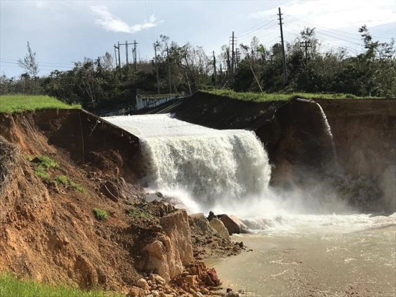 The spillway of the Guajataca Dam, near Isabella, Puerto Rico, was severely damaged by Hurricane Maria's heavy rains.