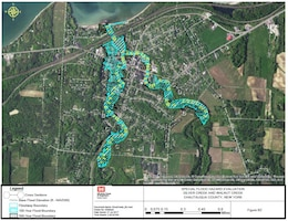 Photo illustration of a floodplain map generated by the Army Corps of Engineers Floodplain Management Services.