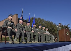 A panel of leaders within the 1st Fighter Wing and Air Combat Command attend the 1st Fighter Wing's 100-year monument unveiling at Joint Base Langley-Eustis, Va., Oct. 27, 2017.