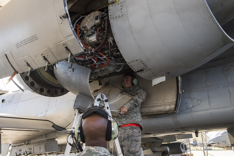 Airman 1st Class William Osborne, 23d Aircraft Maintenance Squadron, replaces the protective covering on the engine of an A-10C Thunderbolt II, Oct. 31, 2017, at Moody Air Force Base, Ga. Pilots, traveled to Eglin AFB, Fla., to participate in exercise COMBAT HAMMER. The exercise evaluates the effectiveness, maintainability, suitability and accuracy of precision guided munitions and high technology air to ground munitions from tactical deliveries against realistic targets with realistic enemy defenses. Moody's team will be assessed and trained on how accurately and quickly a munition is built, loaded onto the aircraft and dropped from the aircraft onto a target. (U.S. Air Force photo by Senior Airman Janiqua P. Robinson)