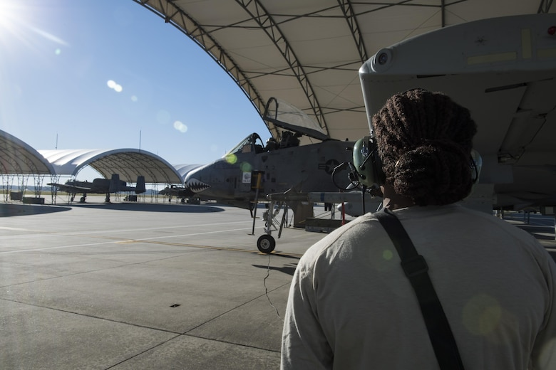 Airman 1st Class Tori Payne, 74th Aircraft Maintenance Unit crew chief performs a preflight systems check on an A-10C Thunderbolt II, Oct. 31, 2017, at Moody Air Force Base, Ga.Pilots, traveled to Eglin AFB, Fla., to participate in exercise COMBAT HAMMER. The exercise evaluates the effectiveness, maintainability, suitability and accuracy of precision guided munitions and high technology air to ground munitions from tactical deliveries against realistic targets with realistic enemy defenses. Moody's team will be assessed and trained on how accurately and quickly a munition is built, loaded onto the aircraft and dropped from the aircraft onto a target. (U.S. Air Force photo by Senior Airman Janiqua P. Robinson)