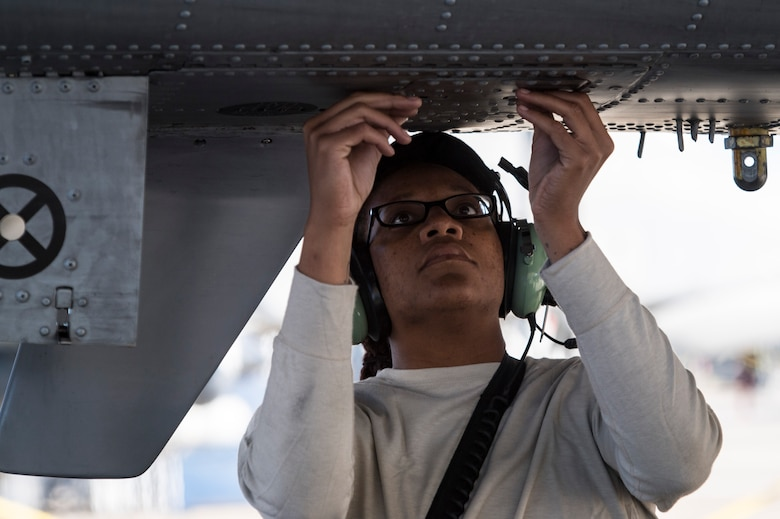 Airman 1st Class Tori Payne, 74th Aircraft Maintenance Unit crew chief performs a preflight systems check on an A-10C Thunderbolt II, Oct. 31, 2017, at Moody Air Force Base, Ga. Pilots, traveled to Eglin AFB, Fla., to participate in exercise COMBAT HAMMER. The exercise evaluates the effectiveness, maintainability, suitability and accuracy of precision guided munitions and high technology air to ground munitions from tactical deliveries against realistic targets with realistic enemy defenses. Moody's team will be assessed and trained on how accurately and quickly a munition is built, loaded onto the aircraft and dropped from the aircraft onto a target. (U.S. Air Force photo by Senior Airman Janiqua P. Robinson)