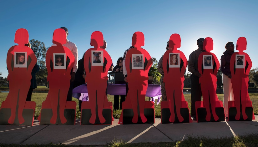 Silhouettes are displayed of fallen service members during a candlelight vigil ceremony at Joint Base Charleston, S.C., Oct. 30, 2017.