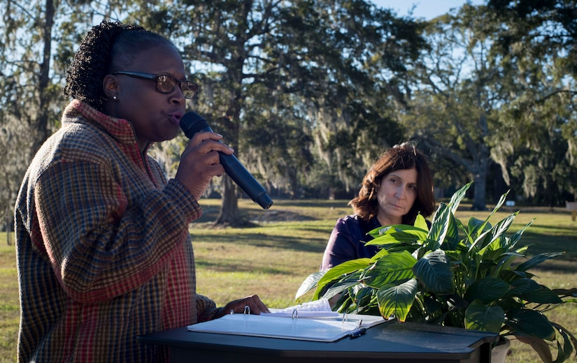 – Dr. Karen Simmons shares her story of domestic violence during a candlelight vigil ceremony at Joint Base Charleston, S.C., Oct. 30, 2017.