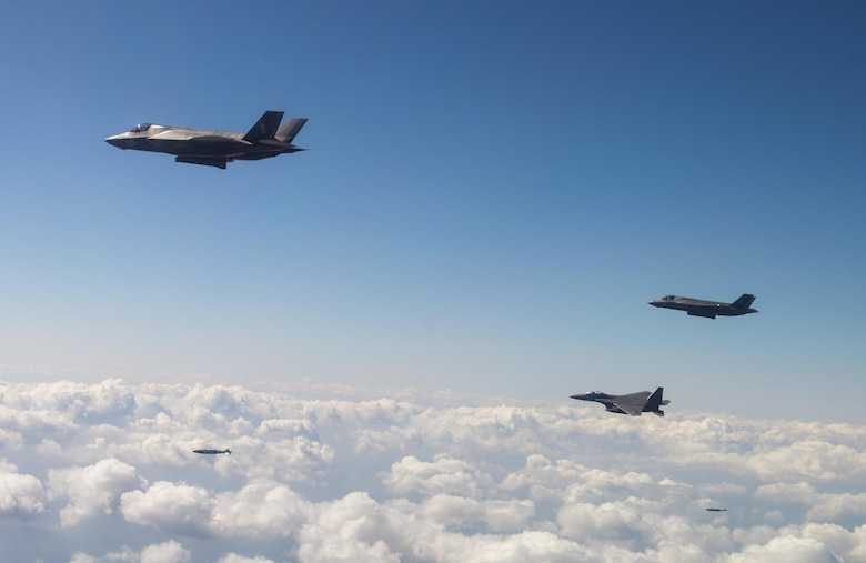U.S. Fifth-Generation Fighters, Strategic Bombers Conduct Show of Force with Allies in Response to North Korea Missile Launch