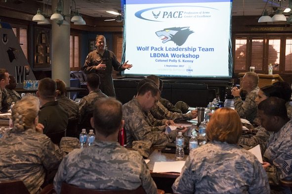 U.S. Air Force Col. David Shoemaker, 8th Fighter Wing commander, addresses participants during the Leadership Behavior DNA workshop at Kunsan Air Base, Republic of Korea, Sep. 1, 2017. The workshop, hosted by the Profession of Arms Center of Excellence, allowed participants to learn about the different traits and factors involved with interpersonal communications and leadership decision-making. (U.S. Air Force photo by Senior Airman Michael Hunsaker)