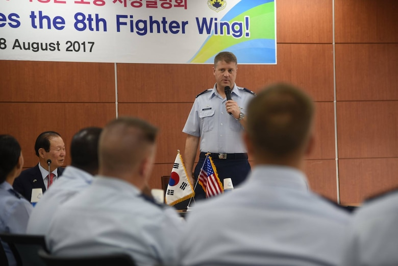 U.S. Air Force Col. David Shoemaker, 8th Fighter Wing commander, speaks at City Hall during an immersion tour in Gunsan City, Republic of Korea, Aug. 28, 2017. The tour aimed to strengthen the bonds and partnership between the Wolf Pack and the city of Gunsan. (U.S. Air Force photo by 2nd Lt. Brittany Curry)