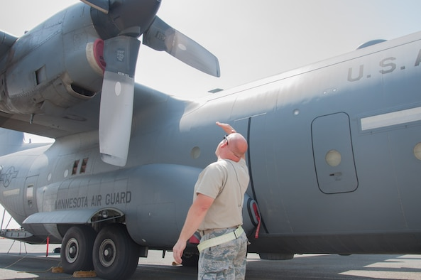 Master Sgt. Norbert Feist, 386th Expeditionary Aircraft Maintenance Squadron crew chef conducts a pre-flight safety inspection on aircraft 1004 Wednesday, August 30th, at an undisclosed location in Southwest Asia. Feist has been the dedicated crew chief for aircraft 1004 for 21 years. (U.S. Air Force photo by Master Sgt. Eric M. Sharman)