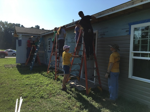 Volunteers from the 20th Fighter Wing help build a house with Habitat for Humanity in Sumter, S.C., Aug. 19, 2017.