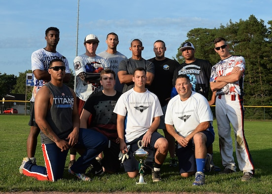Members of the 86th Maintenance Squadron softball team pose for a photo after winning the intramural softball championship game on Ramstein Air Base, Germany, Aug. 23, 2017. During the championship game, the 86th MXS plated the 786th Force Support Squadron and emerged victorious by scoring 25 total runs. (U.S. Air Force photo by Senior Airman Jimmie D. Pike)