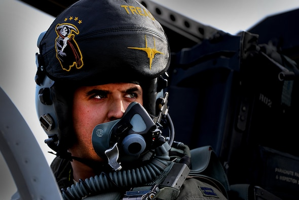 A pilot from the 493rd Expeditionary Fighter Squadron glances in the direction of his wingman prior to a Baltic Air Police sortie at Siauliai Air Base, Lithuania, Aug. 31, 2017. The U.S. presence for the current Baltic Air Policing mission comes at the request of its Baltic allies and further demonstrates its commitment to the security of fellow NATO nations. (U.S. Air Force photo/ Tech. Sgt. Matthew Plew)