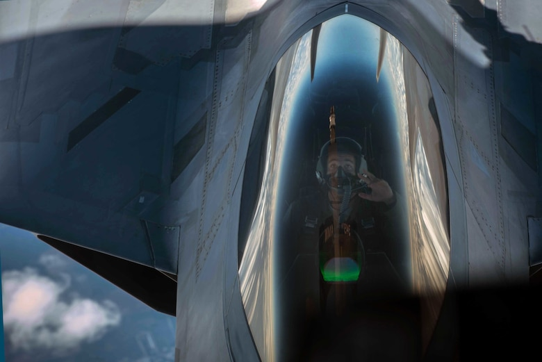 An F-22 Raptor from the 94th Fighter Squadron disengages after refueling from a KC-10 Extender while in transit back to Joint Base Langley-Eustis, Va. after participating in Red Flag 17-4 Aug. 26, 2017. Red Flag is a realistic combat training exercise involving the air, space and cyber forces of the U.S. and its allies. (U.S. Air Force Photo/Staff Sgt. Carlin Leslie)