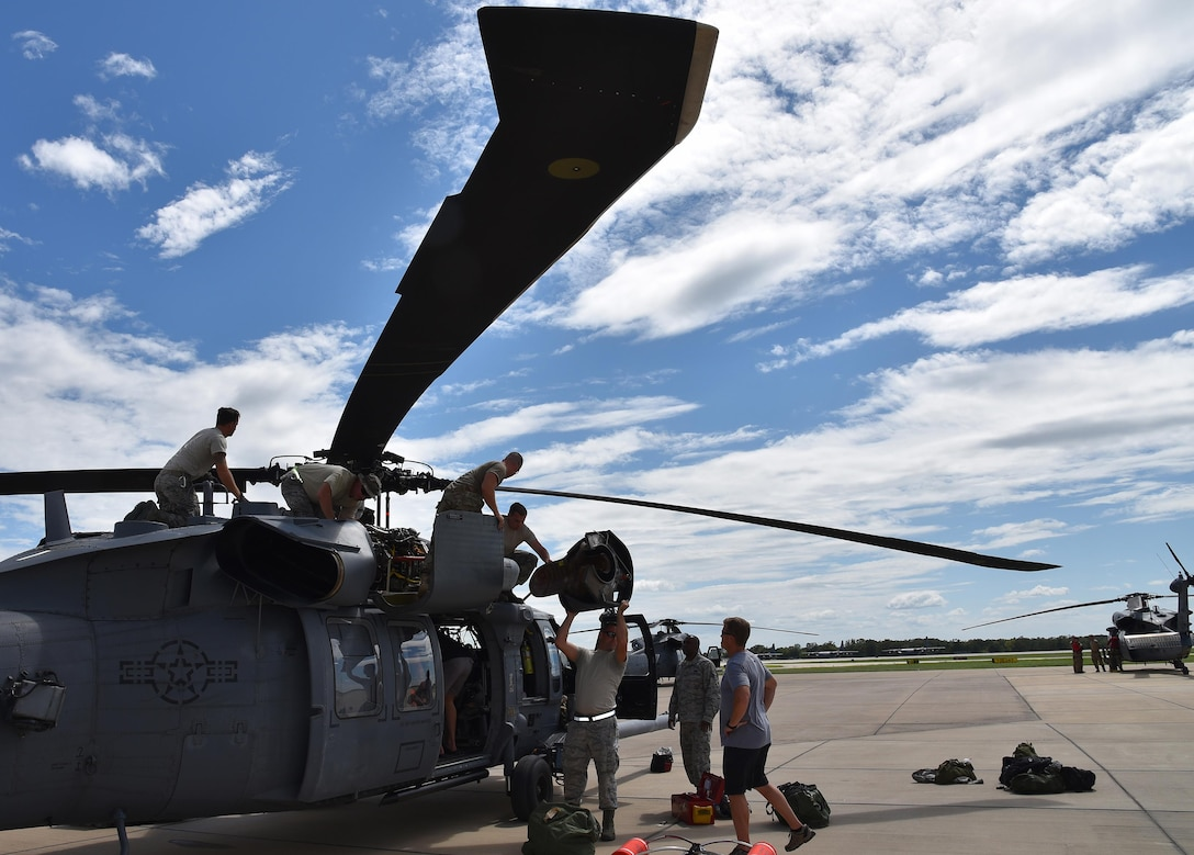 Maintenance crews with the 920th Rescue Wing out of Patrick Air Force Base, Fla. prepare an HH-60 Pave Hawk for a rescue mission in support of Hurricane Harvey relief efforts Aug. 29, 2017 at Easterwood Airport, Texas. The wing deployed more than 90 reservists, three HH-60s and two HC-130N Kings in support of Air Force Northern's search and rescue mission. (U.S. Air Force photo/Tech. Sgt. Lindsey Maurice)