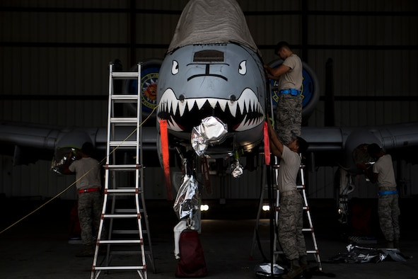 Members of the 23d Aircraft Maintenance Squadron prepare an A-10C Thunderbolt II to be washed, Aug. 28, 2017, at Moody Air Force Base, Ga. Maintenance procedures require that A-10s are washed at least every 180 days to prevent maintenance issues and safety hazards to the pilot. Since strong chemicals are used to clean the aircraft Airmen must wear personal protective equipment. (U.S. Air Force photo by Airman 1st Class Daniel Snider)