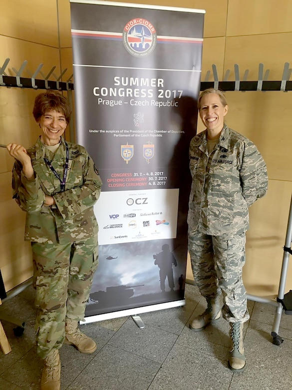 Col. Vanessa Dornhoefer, right, individual mobilization augmentee to the director of logistics, Headquarters Air Force,  and U.S. Army Col. Mona Jibril at the kickoff event for CIOR 2017. (Courtesy photo)