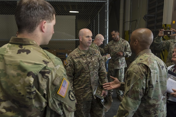 Brig. Gen. John B. Hashem talks with ARNOTH-Task Force 51 Soldiers about their mission and capabilities in relation to Hurricane Harvey