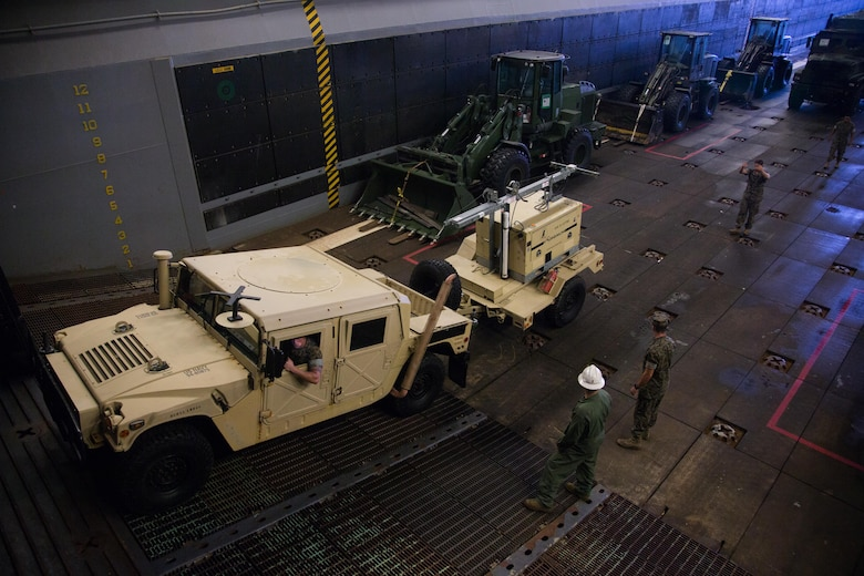 U.S. Marines and Sailors move a high mobility multipurpose wheeled vehicle (HMMWV) aboard the USS Kearsarge at Naval Station Norfolk, Va., Aug. 31, 2017.