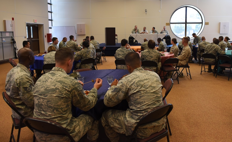 Service members attend a lunch and enrichment panel to talk about social and spiritual resiliency Aug. 17, 2017, at Incirlik Air Base, Turkey. The lunch and enrichment forum focused on how practicing different belief systems can strengthen one's resilience. (U.S. Air Force photo by Senior Airman Jasmonet D. Jackson)