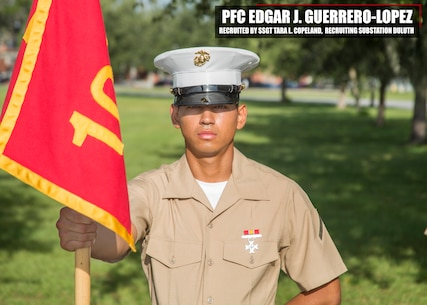 Private First Class Edgar J. Guerrero-Lopez graduated Marine Corps recruit training September 1, 2017, aboard Marine Corps Recruit Depot Parris Island, South Carolina. Guerrero-Lopez was the Honor Graduate of platoon 1062. Guerrero-Lopez was recruited by Staff Sgt. Tara L. Copeland from Recruiting Substation Duluth. (U.S. Marine Corps photo by Lance Cpl. Jack A. E. Rigsby)