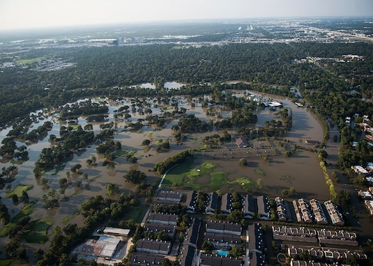 Aerial view of flooding caused by Hurricane Harvey