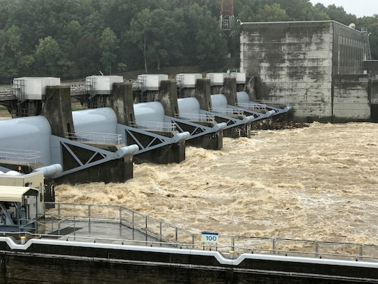 The U.S. Army Corps of Engineers Nashville District Water Management Center is passing water through Cheatham Dam on the Cumberland River in Ashland City, Tenn., at a rate exceeding 90,000 cubic feet per second.  Six to nine inches of rain from the remnants of Hurricane Harvey fell into the Cumberland River watershed and is flowing into Cheatham Lake in Tennessee and Barkley Lake in Kentucky. Cheatham Lock is closed because of the strong currents flowing through the dam. (USACE photo by Mark Rankin)