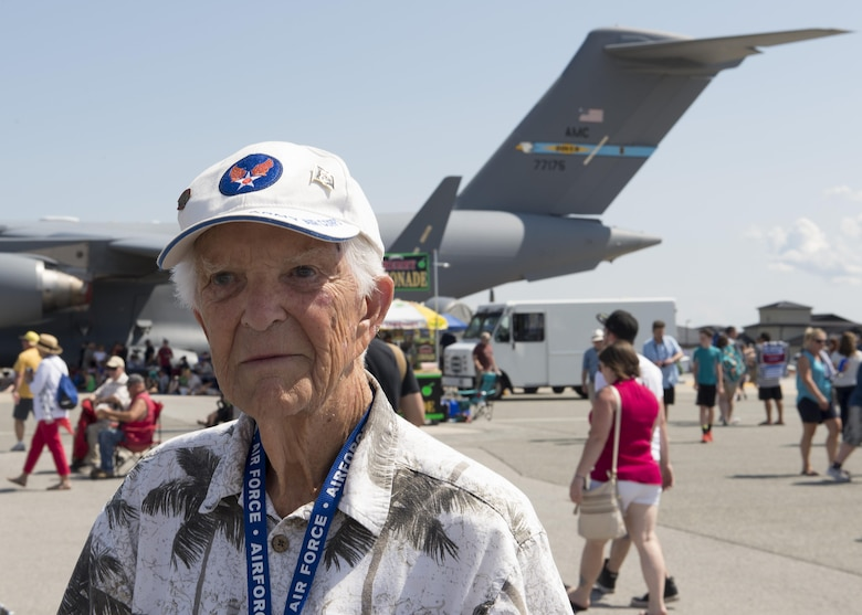 William Fili, Distinguished Flying Cross recipient, poses for a photo during the Thunder Over Dover Open House Aug. 26, 2017, at Dover Air Force Base, Del. Fili received the medal for actions taken during World War II. (U.S. Air Force photo by Senior Airman Zachary Cacicia)