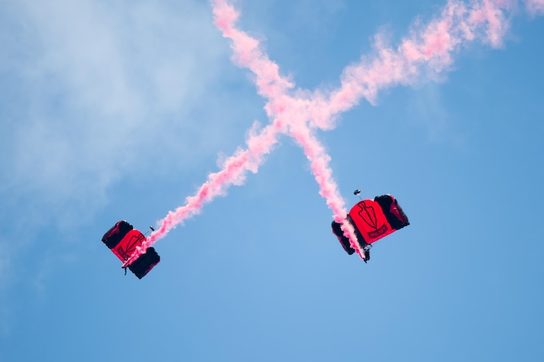 The Black Daggers sky dive during the opening ceremony of the Thunder Over Dover Open House and Airshow Aug. 25, 2017, at Dover Air Force Base, Del. The Black Daggers are the U.S. Army Special Operations Command's Parachute Demonstration Team. (U.S. Air Force photo by Mauricio Campino