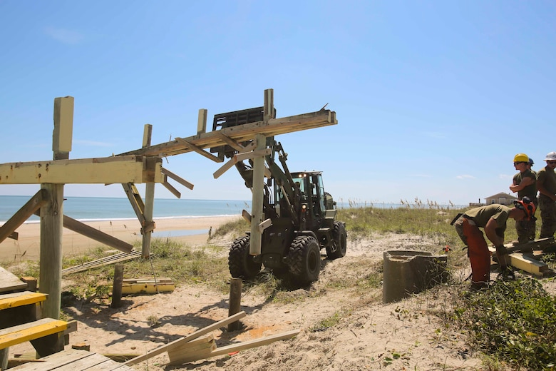 8th Engineer Support Battalion destroys vacant beach houses at Onslow Beach, Camp Lejeune, N.C., Aug. 30.