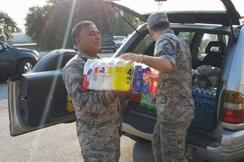 Military personnel deployed to Easterwood Airport, College Station, Texas to support rescue and recovery efforts in the aftermath of Hurricane Harvey.