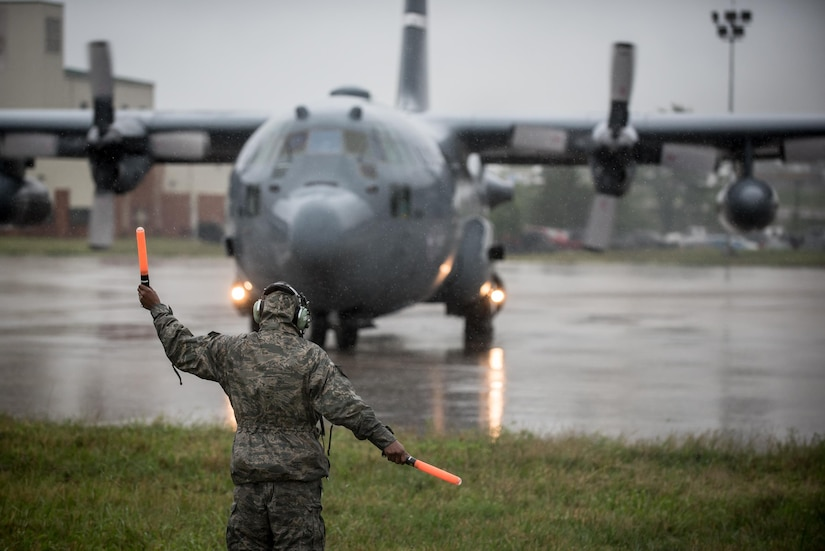 Two C-130 Hercules aircraft and 14 airmen from the 123rd Airlift Wing deploy from the Kentucky Air National Guard base in Louisville, Ky., Sept. 1, 2017, for Texas, where they will fly humanitarian aid and airlift evacuation missions in the aftermath of Hurricane Harvey. The airmen are expected to airlift displaced residents from Beaumont, Texas, to Dallas, where they will be provided with safe shelter. Air National Guard photo by Lt. Col. Dale Greer