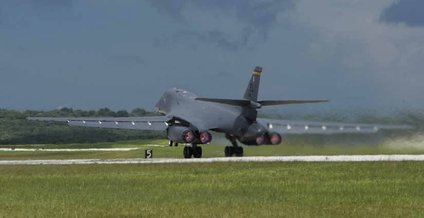 U.S. Fifth-Generation Fighters, Strategic Bombers Conduct Show of Force with Allies in Response to North Korea Missile Launch A B-1B Lancer prepares for takeoff from Andersen Air Force Base, Guam, into Japanese airspace and over the Korean Peninsula, Aug. 31, 2017. The B-1Bs along with U.S. Marine Corp's F-35Bs, made contact with two Koku Jieitai (Japan Air Self-Defense Force) F-15J fighters over waters near Kyushu, and were joined by four South Korean F-15 fighters over the Korean Peninsula. This mission is in direct response to North Korea's intermediate range ballistic missile launch and emphasizes the combined ironclad commitment to regional allies and partners. (U.S. Air Force photo/Master Sgt. J.T. May III)