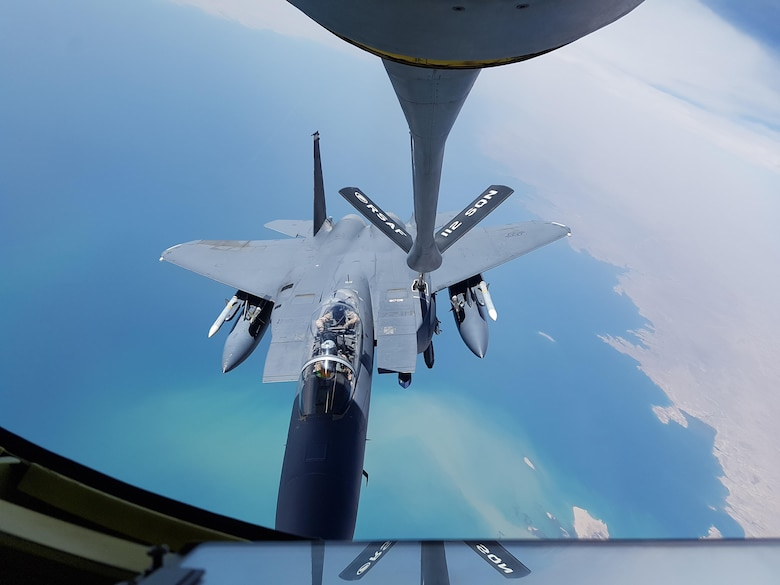 A Republic of Singapore Air Force aircraft refuels a Coalition aircraft above Southwest Asia. (Courtesy photo from Republic of Singapore Air Force)